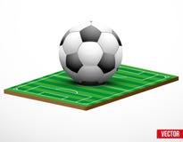 Symbol av en fotboll eller en fotbolllek och fält. Arkivbild
