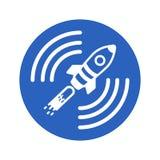 Symbol av en satellit- raket i en blå cirkel på en vit bakgrund Royaltyfri Foto
