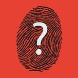 Symbol av gåtan som ska lösas under en utredning för att identifiera en brottsling till och med hans fingeravtryck stock illustrationer