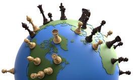 Symbol av geoen - politik världsjordklotet med schackstycken Fotografering för Bildbyråer
