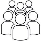 Symbol av gruppen av sex personer stock illustrationer
