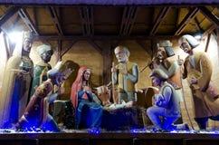 Symbol av jul - julkrubba i centrera av Lviv Arkivfoto