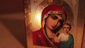 Symbol av jungfruliga Mary stock video