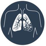 Symbol av lungsjukdomsvart vektor illustrationer