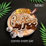 Symbol av med is kaffe med med is kuber royaltyfri illustrationer