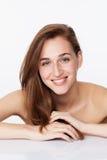 Symbol av sexig skönhet för brunnsort, skincare- och haircarebehandling Fotografering för Bildbyråer