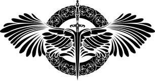 Symbol av skydd, svärd med vingar Arkivbild