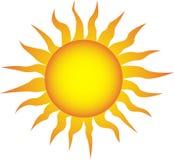 Symbol av solen på en vit bakgrund Arkivfoton