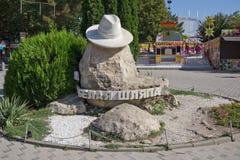 Symbol av stad-semesterorten Anapa - vit hatt arkivfoton