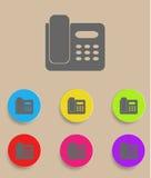 Symbol av telefonen som isoleras på färgglad bakgrund Royaltyfria Foton
