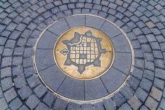Symbol av Timisoara, Rumänien som föreställer översikten av medeltida fortr Arkivbild