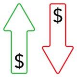 Symbol av växande och fallande färg för dollar stock illustrationer