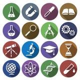 Symbol av vetenskapliga hjälpmedel i plan design Stock Illustrationer