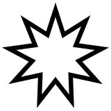 Symbol Bahai star of nine angles, nine is a sacred number Stock Image
