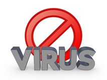 Symbol of ban and word VIRUS. Royalty Free Stock Image