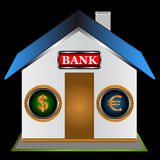 Symbol of the bank. On a black background Stock Photo