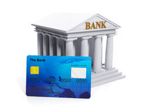 The symbol of the bank. Credit card and bank close-up on white background Stock Photo