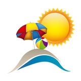 symbol beach with parasol icon Royalty Free Stock Images