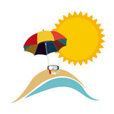 symbol beach with parasol icon Stock Images