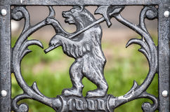 Symbol of bear with weapon in Yaroslavl, Russia. Royalty Free Stock Photos