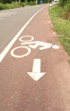 Symbol bicycle path out city Stock Photography