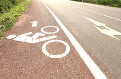 Symbol bicycle path out city Stock Photos