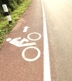 Symbol bicycle path out city Royalty Free Stock Images