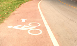 Symbol bicycle path out city Royalty Free Stock Photo