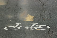 Symbol. A bike symbol on the road Stock Photo