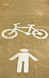 Symbol of bike and walking lane Royalty Free Stock Images
