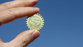 Symbol for bitcoin blockchain virtual currency. Stock Photography
