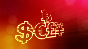 Symbol bitcoin dollar euro pound and yen.. Financial background made of glow particles as vitrtual hologram. 3D seamless. Animation with depth of field, bokeh stock video footage