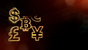 Symbol bitcoin dollar euro pound and yen. Financial background made of glow particles as vitrtual hologram. 3D seamless. Symbol bitcoin euro pound and yen stock footage