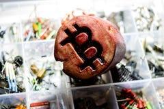 Symbol of bitcoin made of wood royalty free stock image
