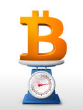 Symbol of bitcoin placed on weighing scales Stock Photos