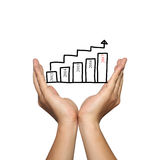 Symbol biznesowy prętowy wykres i 2017 liczb na mężczyzna ręce w conc Zdjęcia Stock