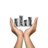 Symbol biznesowy prętowy wykres na mężczyzna ręce w pojęciu presentat Fotografia Stock