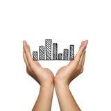 Symbol biznesowy prętowy wykres na mężczyzna ręce w pojęciu presentat Obraz Stock