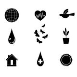 Symbol-black-eco. Character set on the ecology of black and white. Vector Stock Images