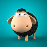 Symbol of 2015. Black Sheep on blue background. Illustration of 2015 year of the sheep Royalty Free Stock Photos