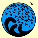 Hands, mourners birds illustration in the circle . Symbol of the blue planet. Symbol of peace, freedom and kindness Royalty Free Stock Photo