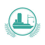 symbol blue ship icon Royalty Free Stock Images