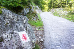 Symbol of the border of the Pyrenees National Park on a rock Royalty Free Stock Photography