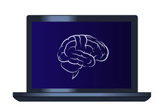Symbol of the brain on the laptop computer Stock Photography