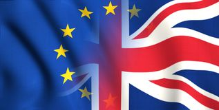 Symbol of brexit britain and europe. Flag waving in the sky changing from one flag to an other stock illustration