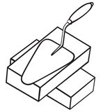 Symbol brick and trowel Stock Images
