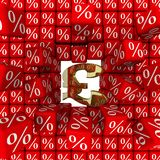 The symbol of the British pound sterling breaks the wall of percentages royalty free illustration