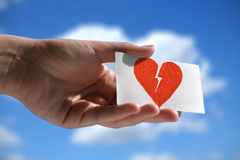 Symbol of broken heart stock images