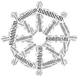 Symbol of Buddhism religion. Word cloud illustration. Royalty Free Stock Photos