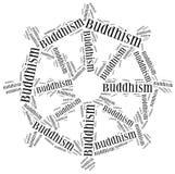 Symbol of Buddhism religion. Word cloud illustration. Royalty Free Stock Photos